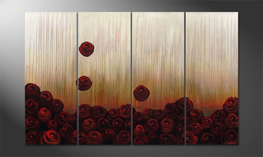 De schilderij Bed of Roses 160x100x2cm