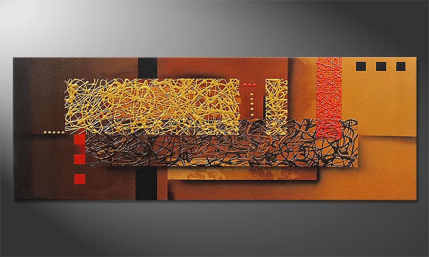 De schilderij Liquid Gold in 150x55x2cm