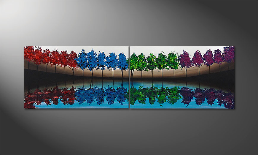 De schilderij MiracleTrees 140x70x2cm