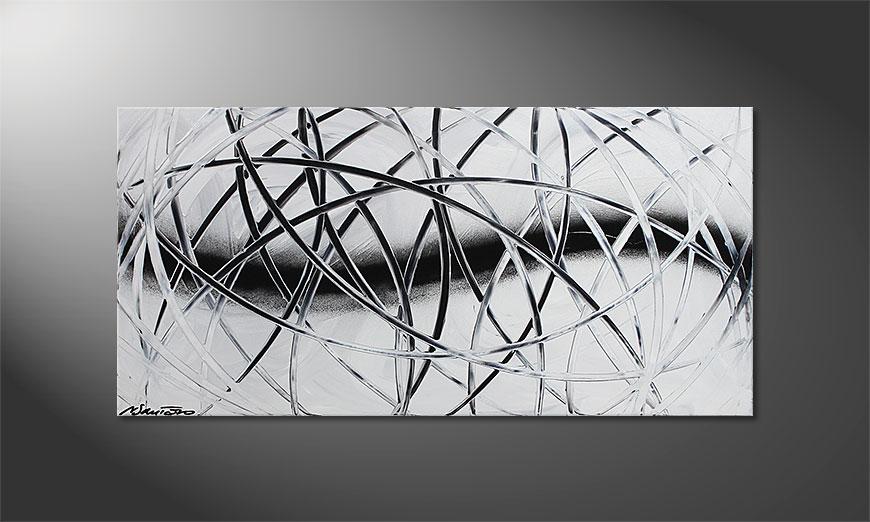 De schilderij Snow Traces 100x50x2cm