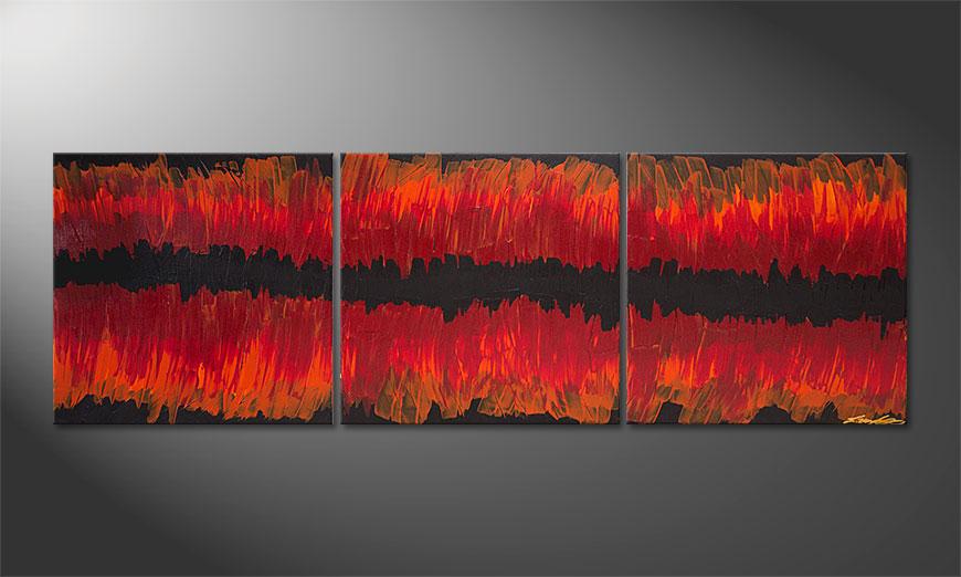 De schilderij Split Red 180x60x2cm