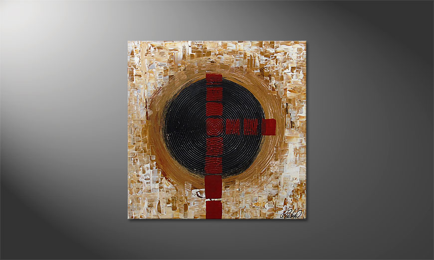 De schilderij Squaring the Circle 80x80x2cm