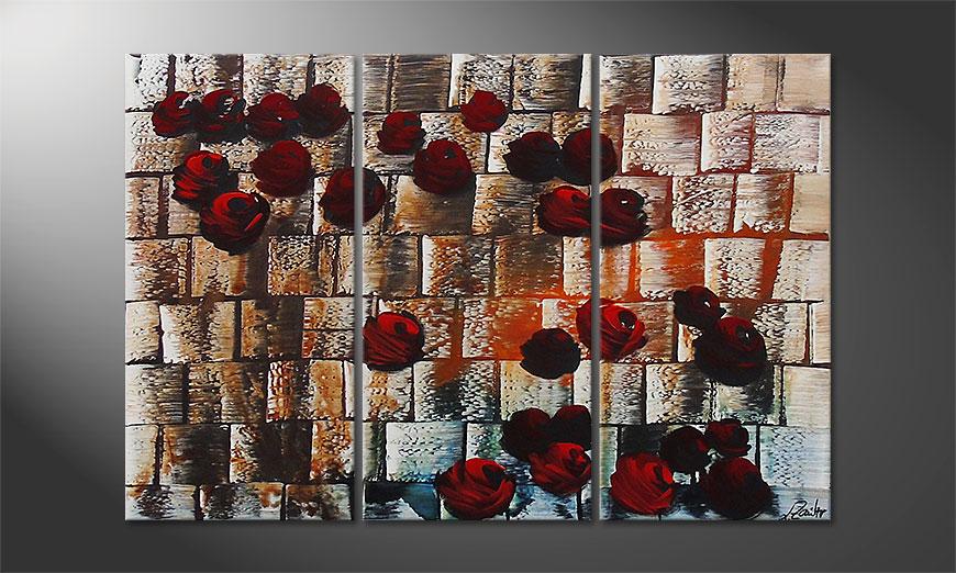 De schilderij Storm of Roses 120x80x2cm