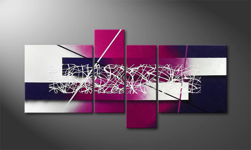 Het canvas Purple Lights 130x65x2cm