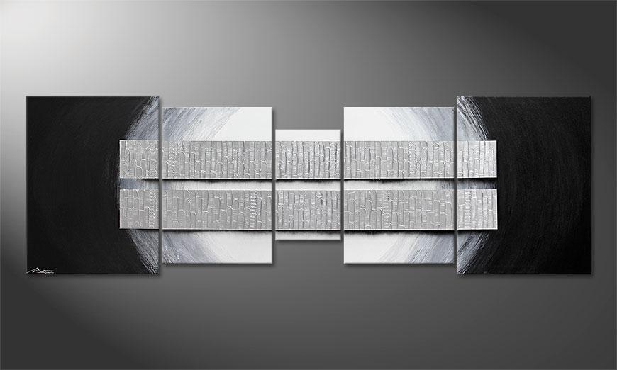 Onze XXL-schilderij Blocs of Silver 250x80x2cm