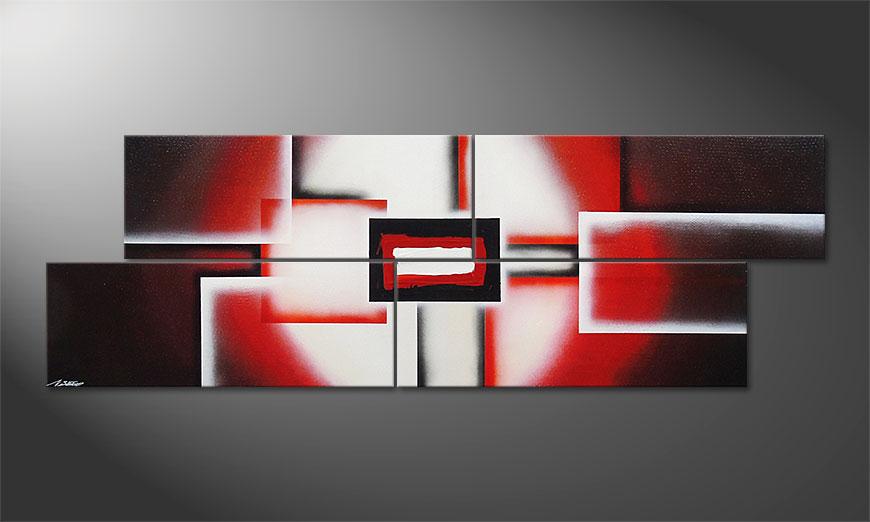 Onze XXL schilderij Cubes of Glow 245x80x2cm