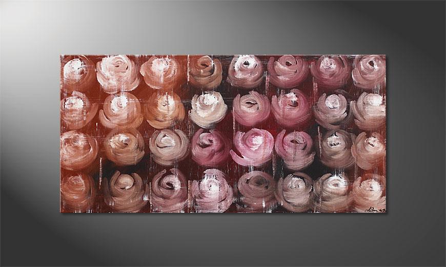 White Roses 120x60x2cm Schilderij