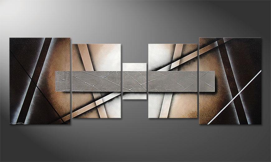 Woonkamer schilderij Silver Mirror 200x70x2cm