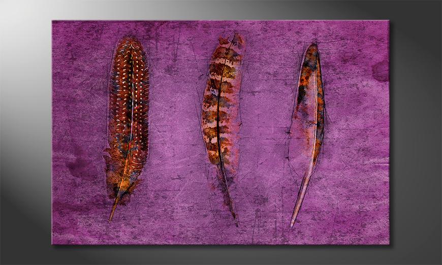 De exclusieve kunstdruk Feathers and Purple
