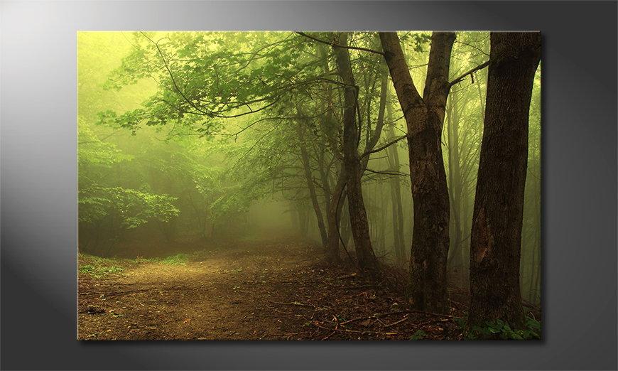 De exclusieve kunstdruk Green Forest 90x60 cm