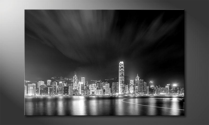 De exclusieve kunstdruk Hong Kong At Night 120x80 cm