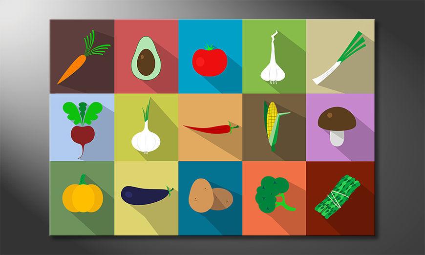 De mooie kunstdruk Funny Vegetables