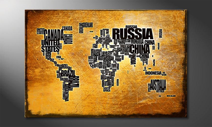 Fine-Art print Kaart van de wereld 6