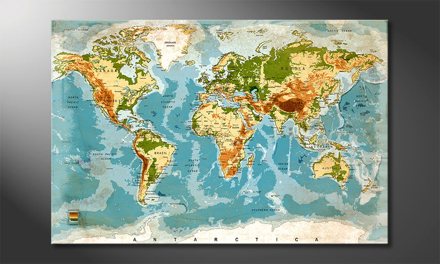 Fine-Art print Used Worldmap