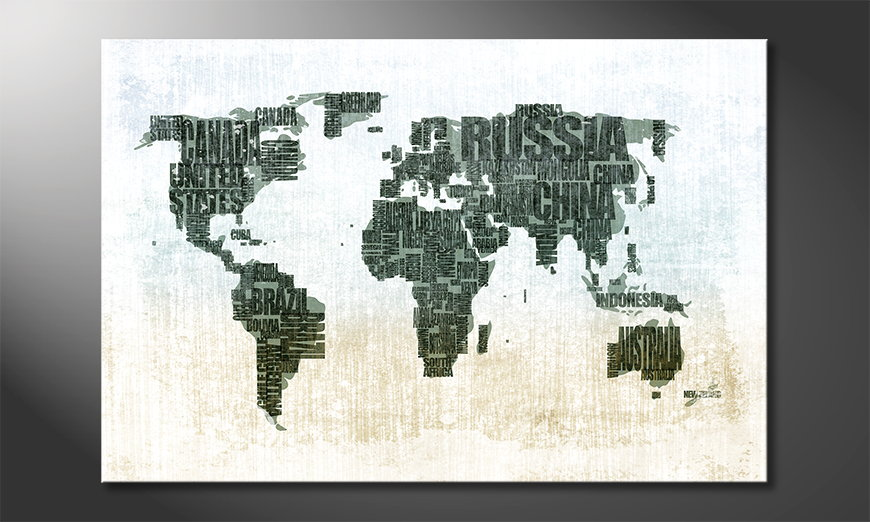 Fine-Art print Wereldkaart 1