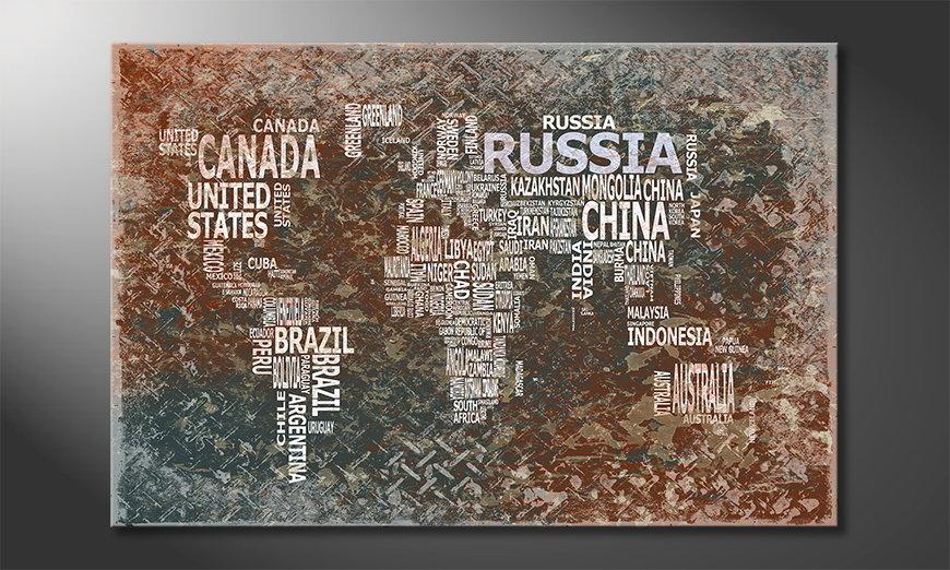 Fine-Art print Wereldkaart 8