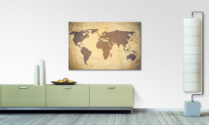 Fine Art print Worldmap Vintage