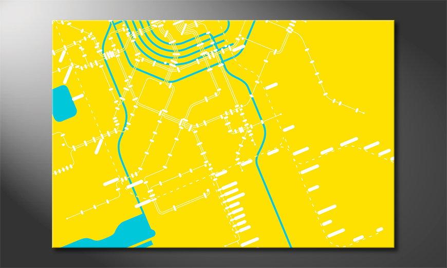 Het abstracte print Metro Amsterdam