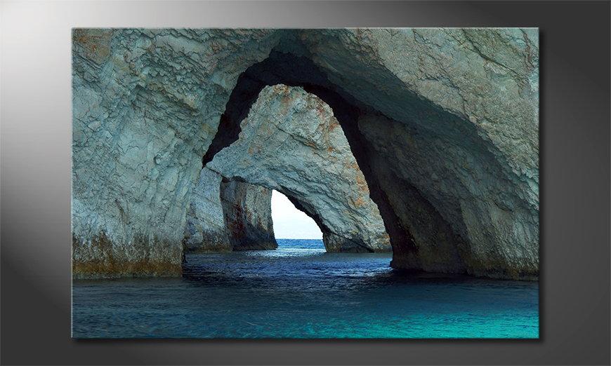 Het foto canvas Blue Caves