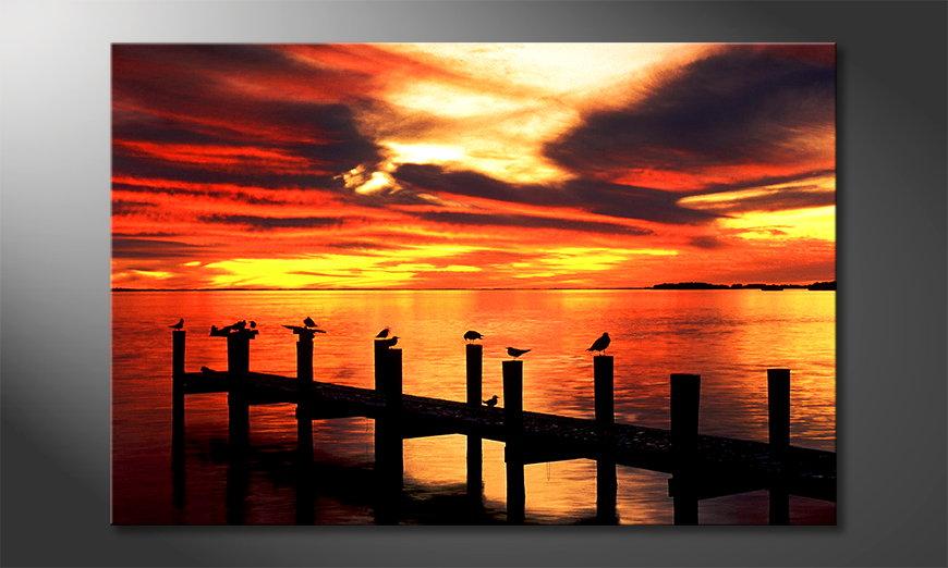 Het foto canvas Glowing Sky