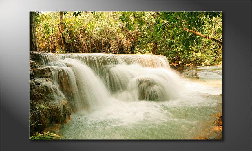 Het foto canvas Jungle Waterfall