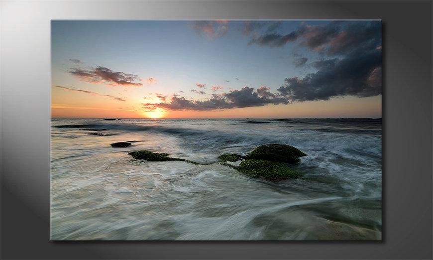 Het foto canvas Ocean Sunset