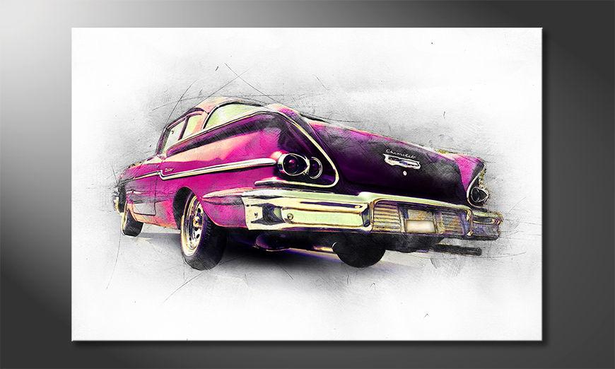 Het foto canvas Pink Chevrolet