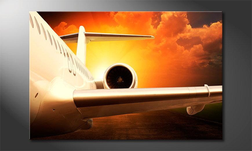 Het foto canvas Sunset Flight