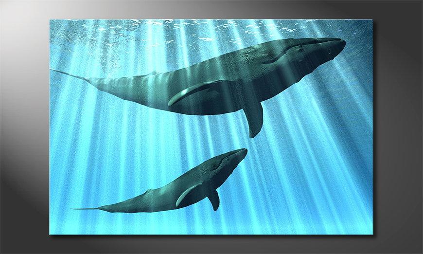 Het foto canvas Whales