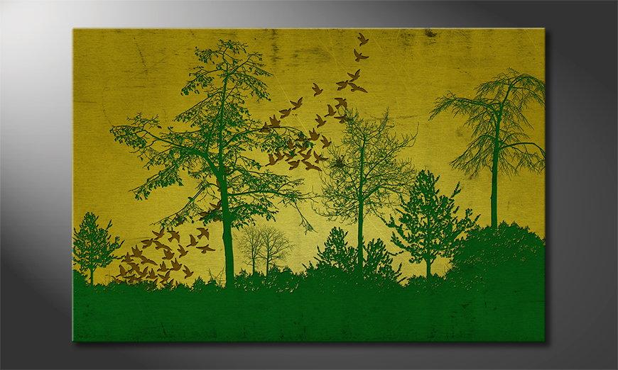 Het gedrukte beeld Birds in Forest