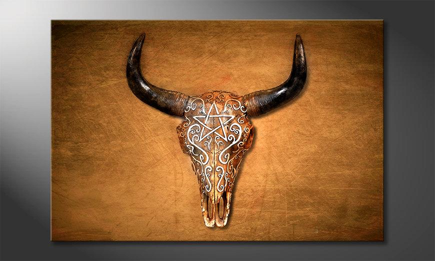 Het gedrukte beeld Bison Skull