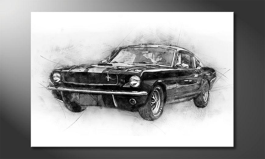 Het gedrukte beeld Black Mustang 120x80 cm