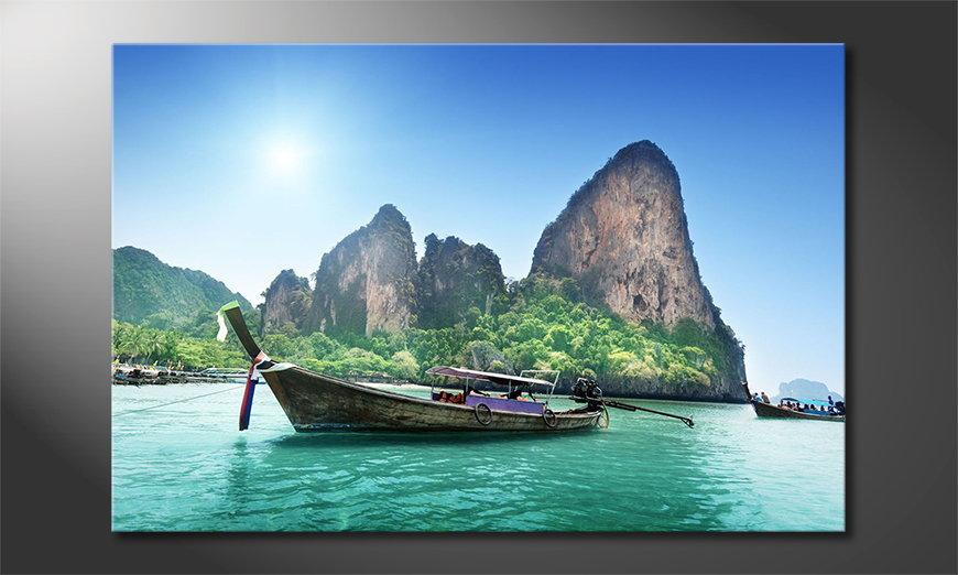 Het gedrukte beeld Boats in Bay