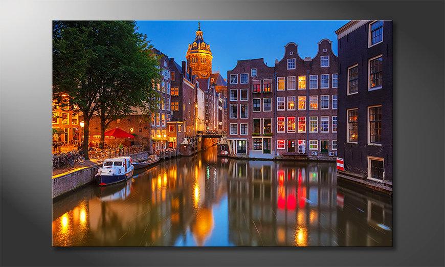 Het gedrukte beeld Canal in Amsterdam