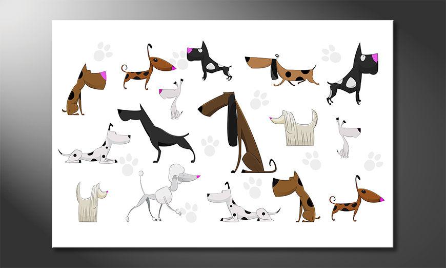 Het gedrukte beeld Cartoon Dogs