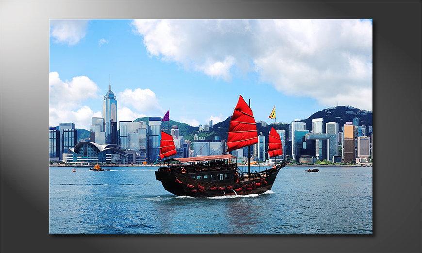Het gedrukte beeld Hongkong Boat