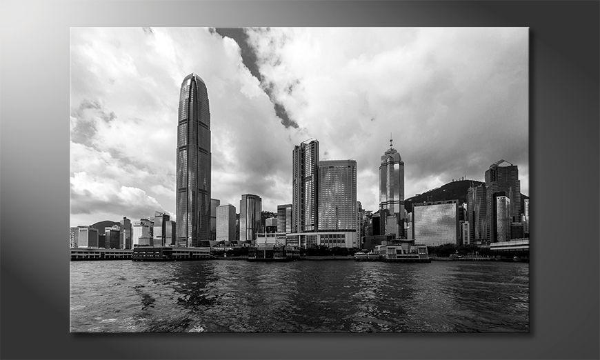 Het gedrukte beeld Hongkong Skyline