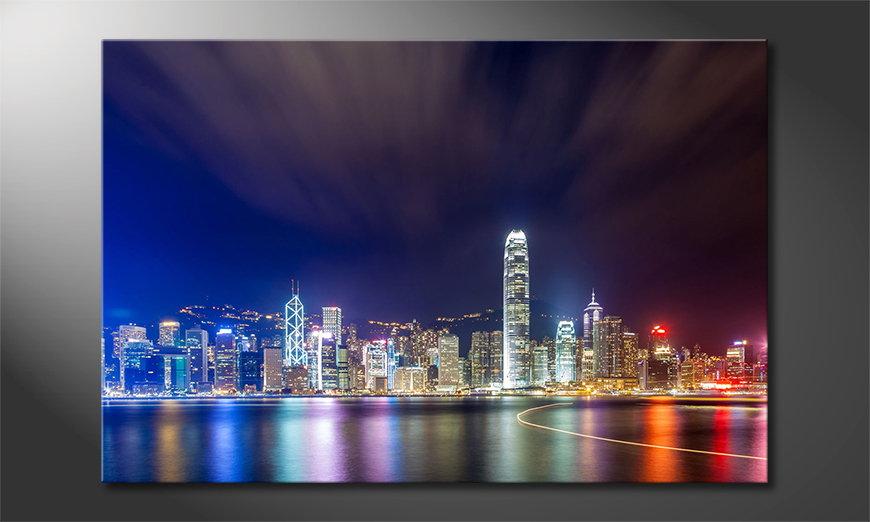 Het gedrukte beeld Hongkong at Night