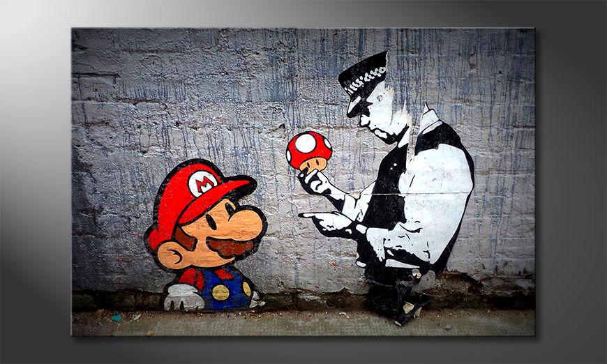 Het moderne beeld Caught Mario