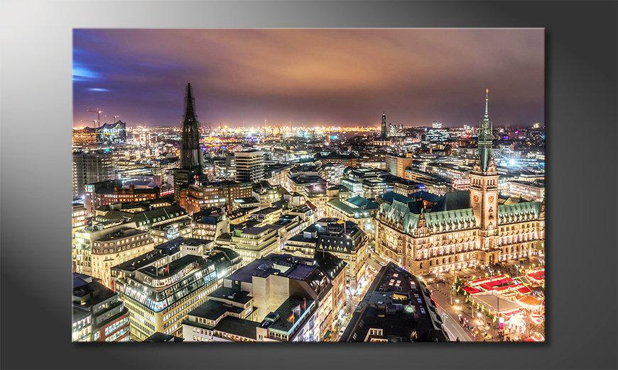 Het moderne beeld Hamburg By Night