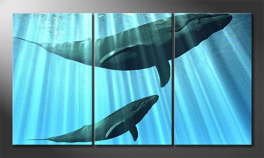 Het moderne beeld Whales 180x100 cm