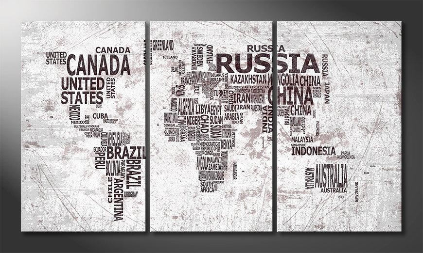 Het moderne beeld World Map 22 180x100 cm