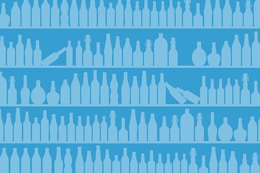 Vlies-behang Blue Bottles vanaf 120x80cm