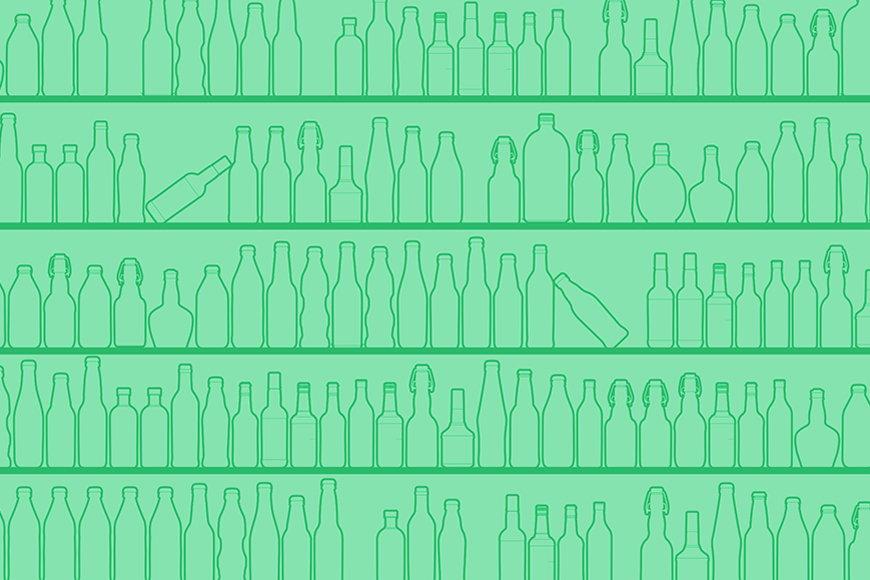 Vlies-behang Green Bottles vanaf 120x80cm