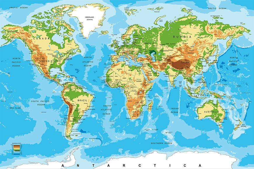 Vlies-behang Physical Worldmap vanaf 120x80cm