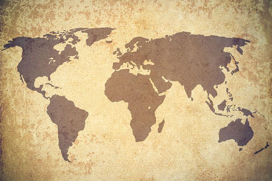 Vlies-behang Vintage Worldmap vanaf 120x80cm