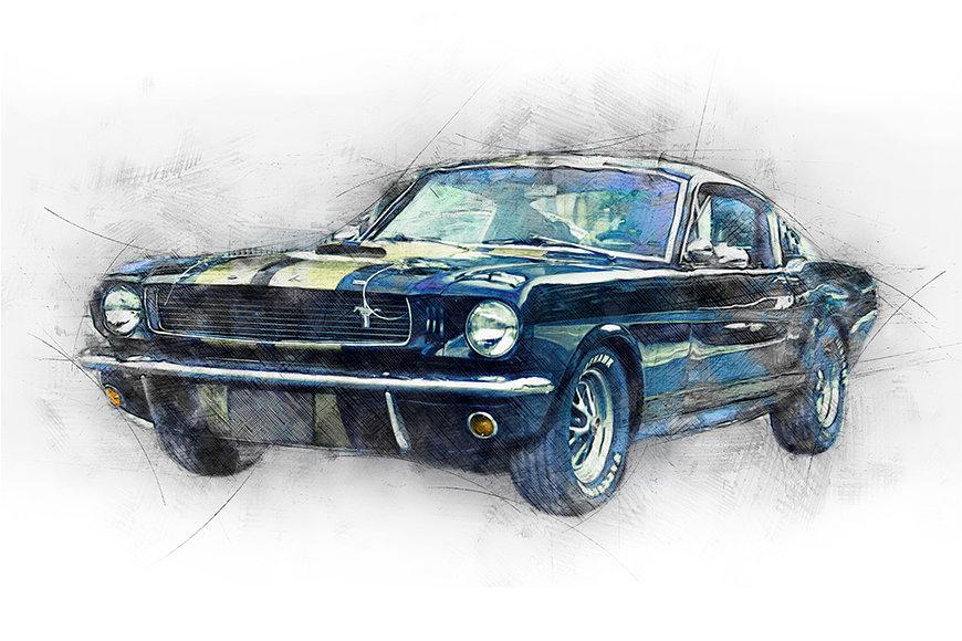 Vlies fotobehang Black Mustang