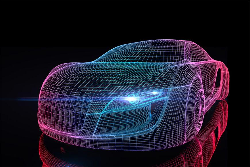 Vlies fotobehang Car from Future vanaf 120x80cm