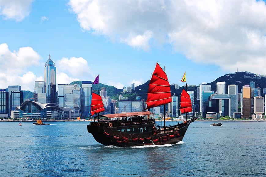 Vlies fotobehang Hongkong Boat vanaf 120x80cm