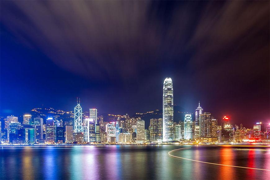 Vlies fotobehang Hongkong at Night in 6 Größen